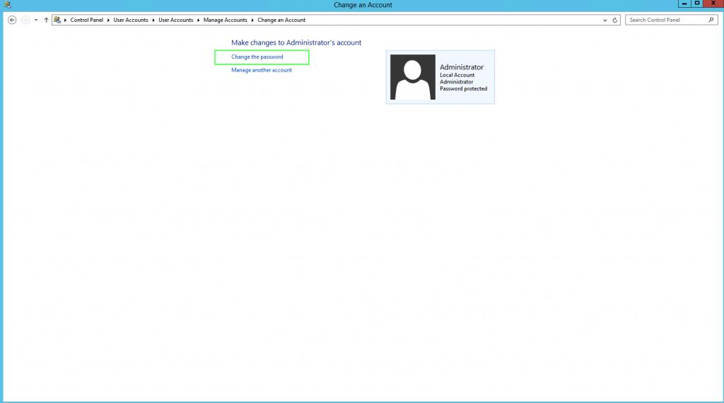 Windows Sanal Sunucu Change Password